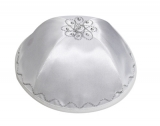White Satin Kippah with Embroidery And Crystals