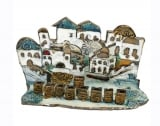Hand Made Ceramic Hanukah Menorah  Houses
