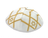 Satin Kippah With Gold Color Star Of David