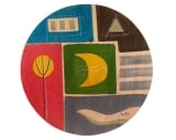 Round Placemat   Yellow Moon by Kakadu Art