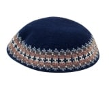 Navy Knitted DMC Kippah   Border in Camel, Gray and White