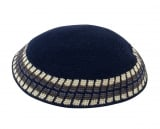 Navy Knitted DMC Kippah   White and Olive