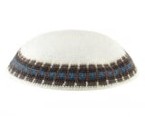 White Knitted DMC Kippah   Gray and Light Blue Border