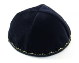 Hand Decorated Kippah with green and gold border
