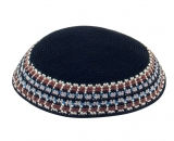 Black Knitted DMC Kippah   Brown White Gray border
