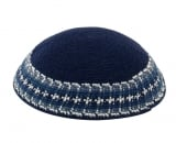Navy Knitted DMC Kippah with Blue Gray White border