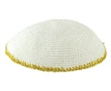 White Knitted Kippah with narrow yellow border