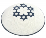 White Knitted Kippah with Dark Blue Stars of David