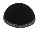 Yemenite Kippah with wide silver border design