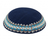 Navy Knitted DMC Kippah   Turquoise and Olive Border