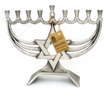 Brass Hanukkah Menorah   Magen David