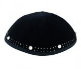 Hand Decorated Silver border Velvet Kippah with crystals
