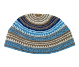 Khaki and Blue Frik Kippah