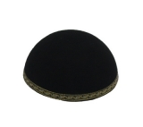 Black Yemenite Kippah with leaf border design