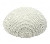 White Thick Knitted Breslov Kippah
