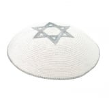 Silver Star of David knitted kippah