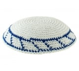 Knitted Kippah with blue border