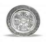 Round Nickel Seder Plate With 6 Symbols Design