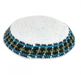 White Knitted Kippah with blue and green border