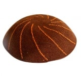 Brown DMC knitted kippah with orange swirl design