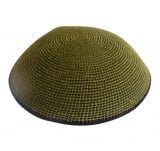 Khaki DMC knitted kippah with black border