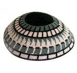 DMC knitted kippah with Gray Geometric design