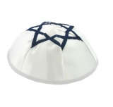 White Satin Kippah With Blue Star Of David
