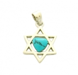 Rhodium Plated Turquoise Star of David Pendant