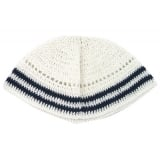 White Frik Kippah with two blue stripes