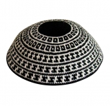 DMC knitted kippah with black and white geometric design