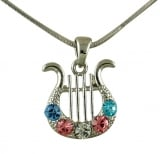 Rhodium King David Lyre Pendant with colored stones