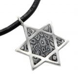 Gray Star of David on Leather Cord Necklace