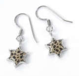Leopard design Star of David Earrings