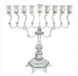 Nickel Diamond design Chanukah Menorah