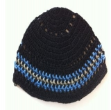 Premium DMC Frik Kippah Black, Blue and Grey Stripes