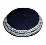 Handmade DMC Knitted Navy Kippah with light blue and khaki border
