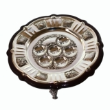 Wooden Silver Plated Passover Plate On Legs