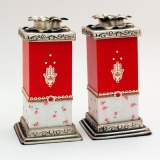 Red Hamsa Wood and Pewter Candlesticks by Ester Shahaf