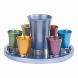 Set of Six Anodized Aluminum Cups with Tray
