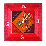 Hand Painted Wooden Clock by Kakadu   Red Dream Fields
