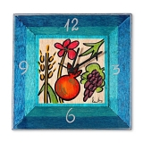 Blue Hand Painted Wooden Clock by Kakadu   Israeli Fruits