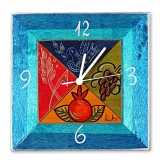 Hand Painted Wooden Clock by Kakadu   Blue Dream Fields