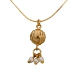 22K Gold Plated Golden Bell Necklace with Pearls by City of David