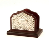 Wood and Silver Plated Floral Napkin Holder