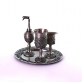 4 Piece Pewter Havdalah Set   Jerusalem design