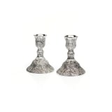 Compact Silver Plated Filigree Candlesticks
