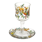 Painted Wineglass and Saucer Peacock and deer design