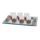 Jerusalem red painted glass small kiddush cups set