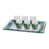 Jerusalem painted glass small kiddush cups set