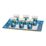 Pomegranate small kiddush cups set in blue